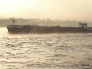 Frachtschiff vor der Poller Wiese