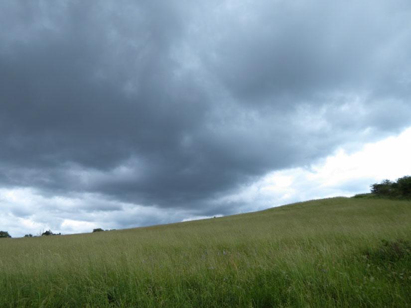 Wolken über weiten Wiesen